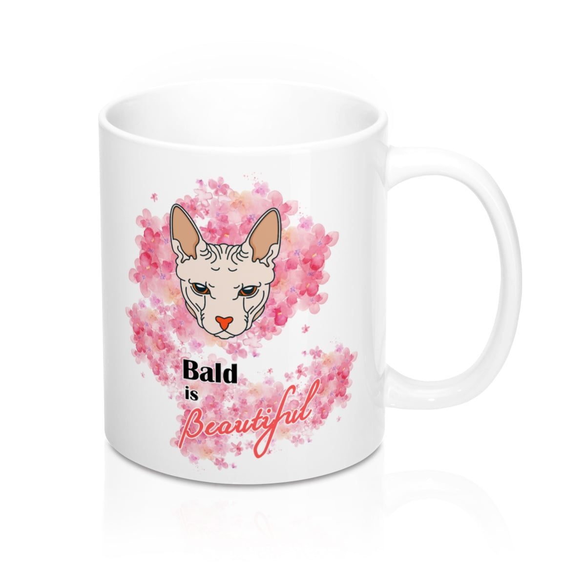 bald is beautiful sphynx cat and flowers white mug