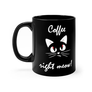 coffee right meow black mug with black cat