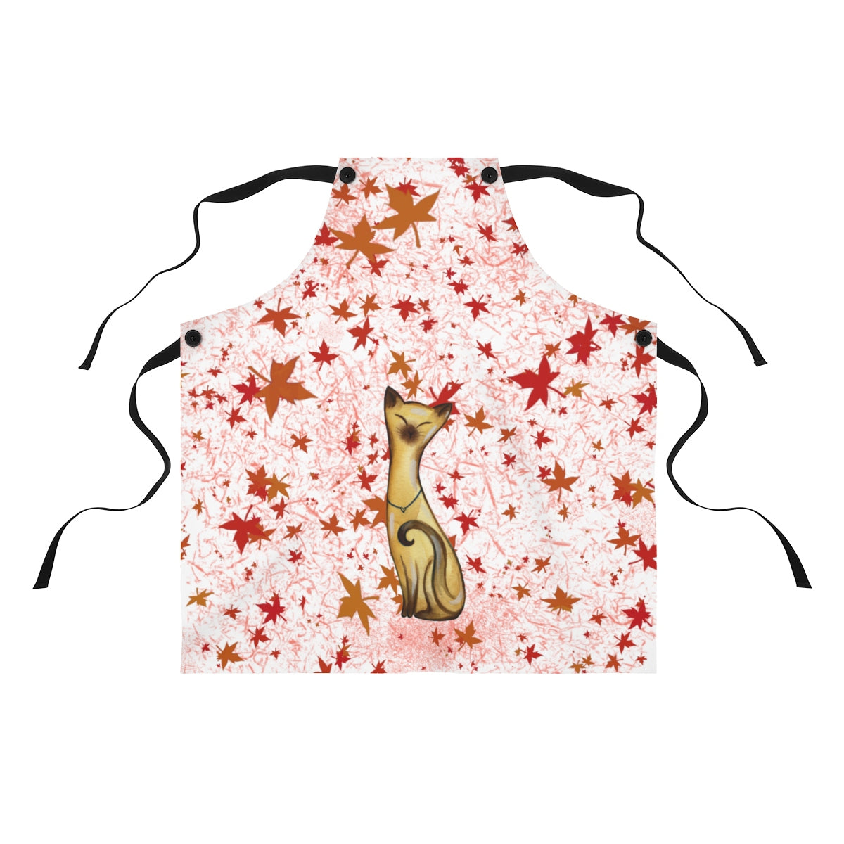 apron with black straps and fall leaves with siamese cat design