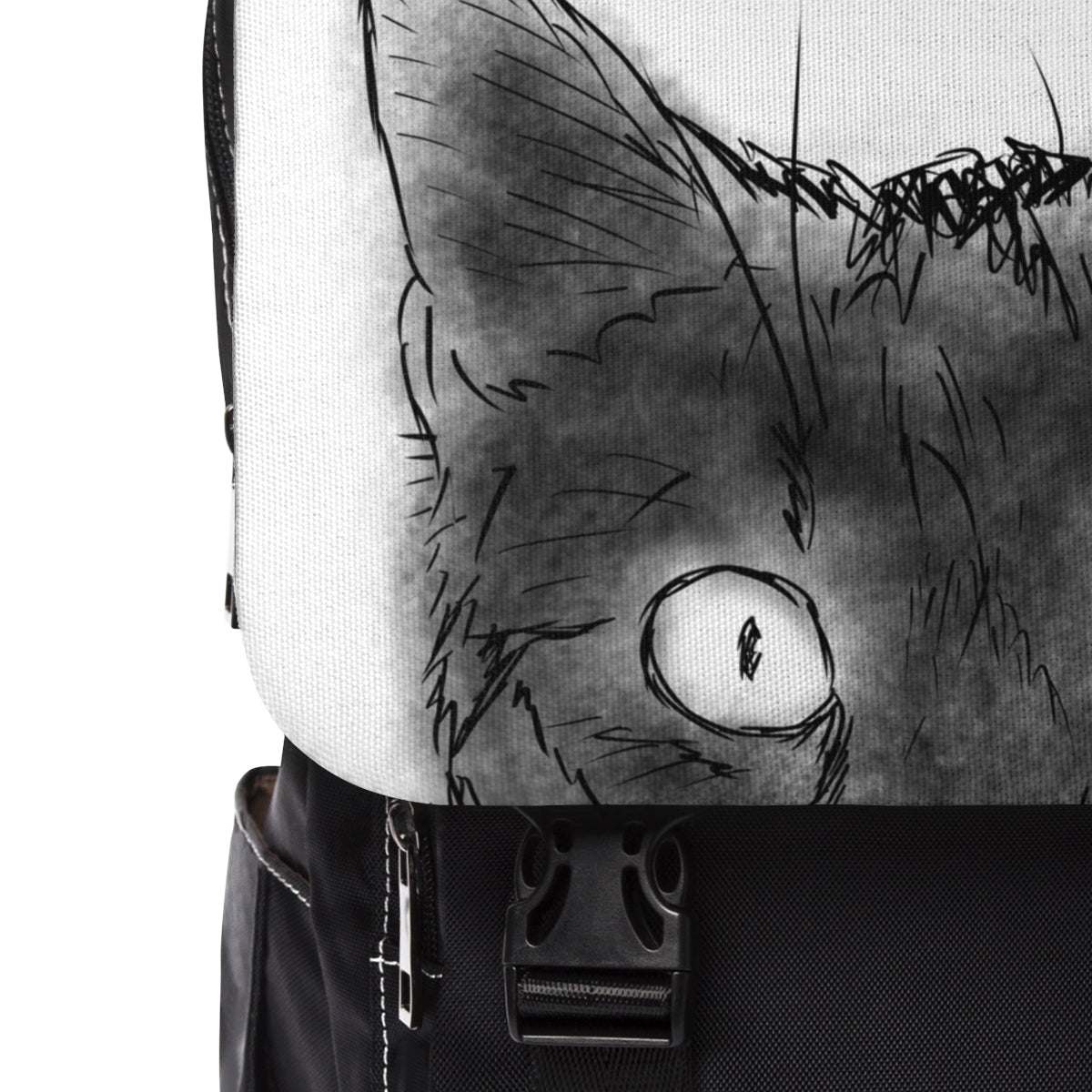 close up of casual backpack with peeking black cat design