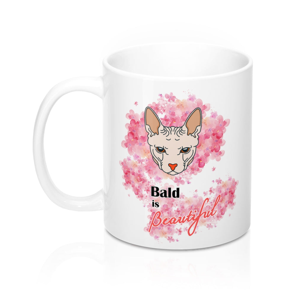 bald is beautiful sphynx cat and flowers mug