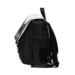 side view of casual backpack with peeking black cat design