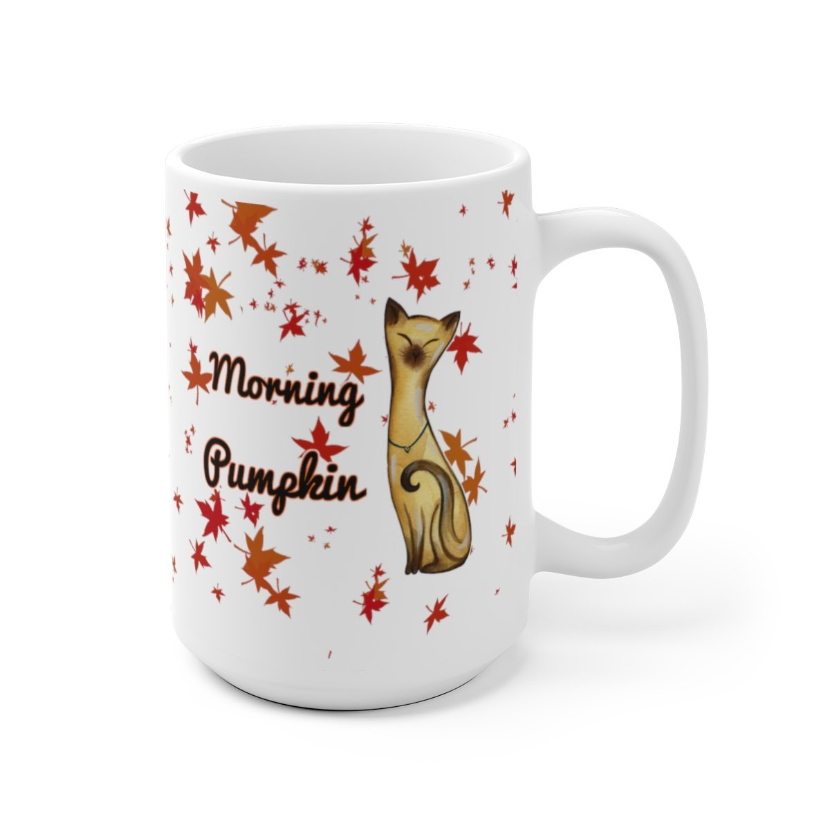 15oz siamese cat fall leaves morning pumpkin white mug