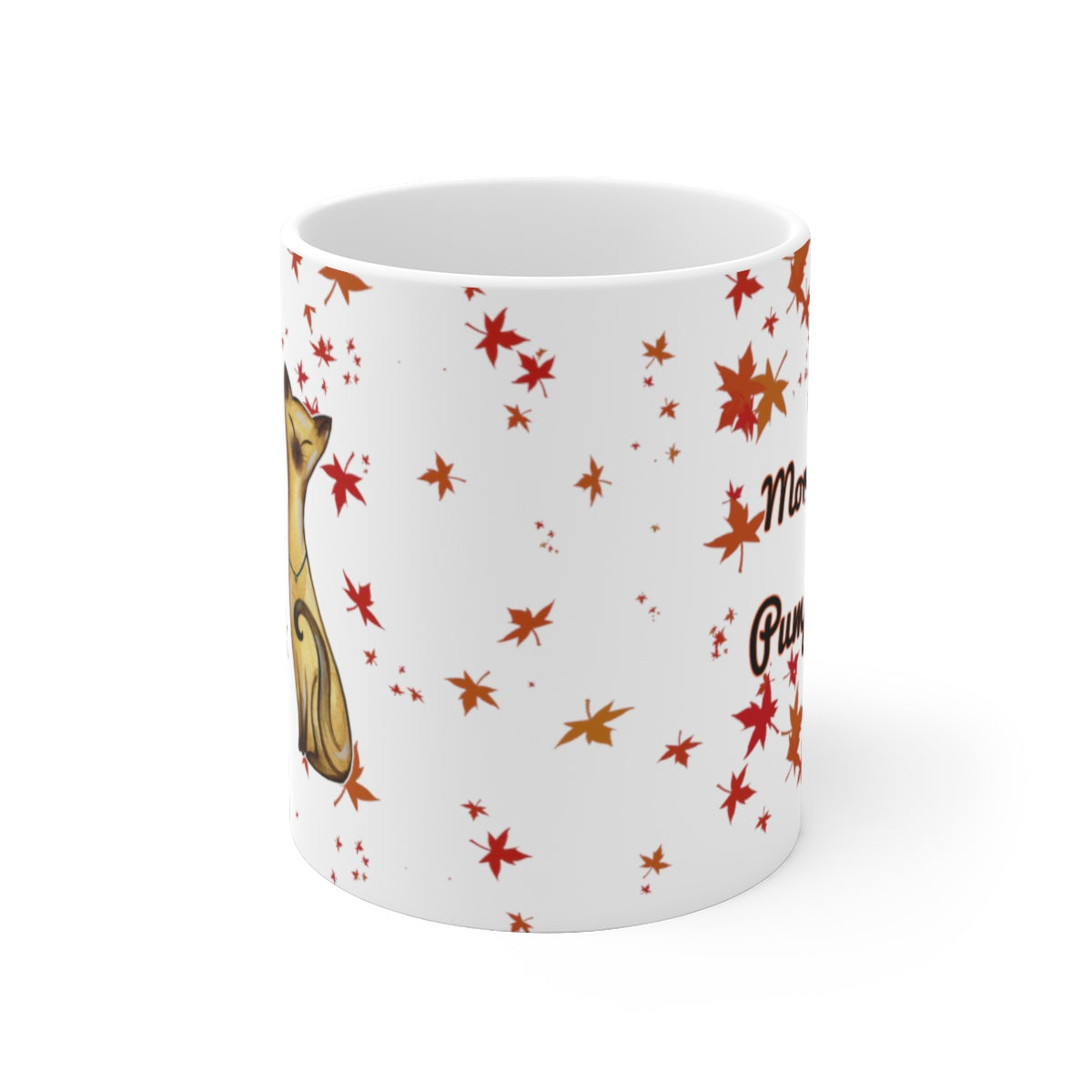 side view of 11oz siamese cat fall leaves morning pumpkin white mug