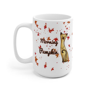 15oz siamese cat fall leaves morning pumpkin white ceramic mug