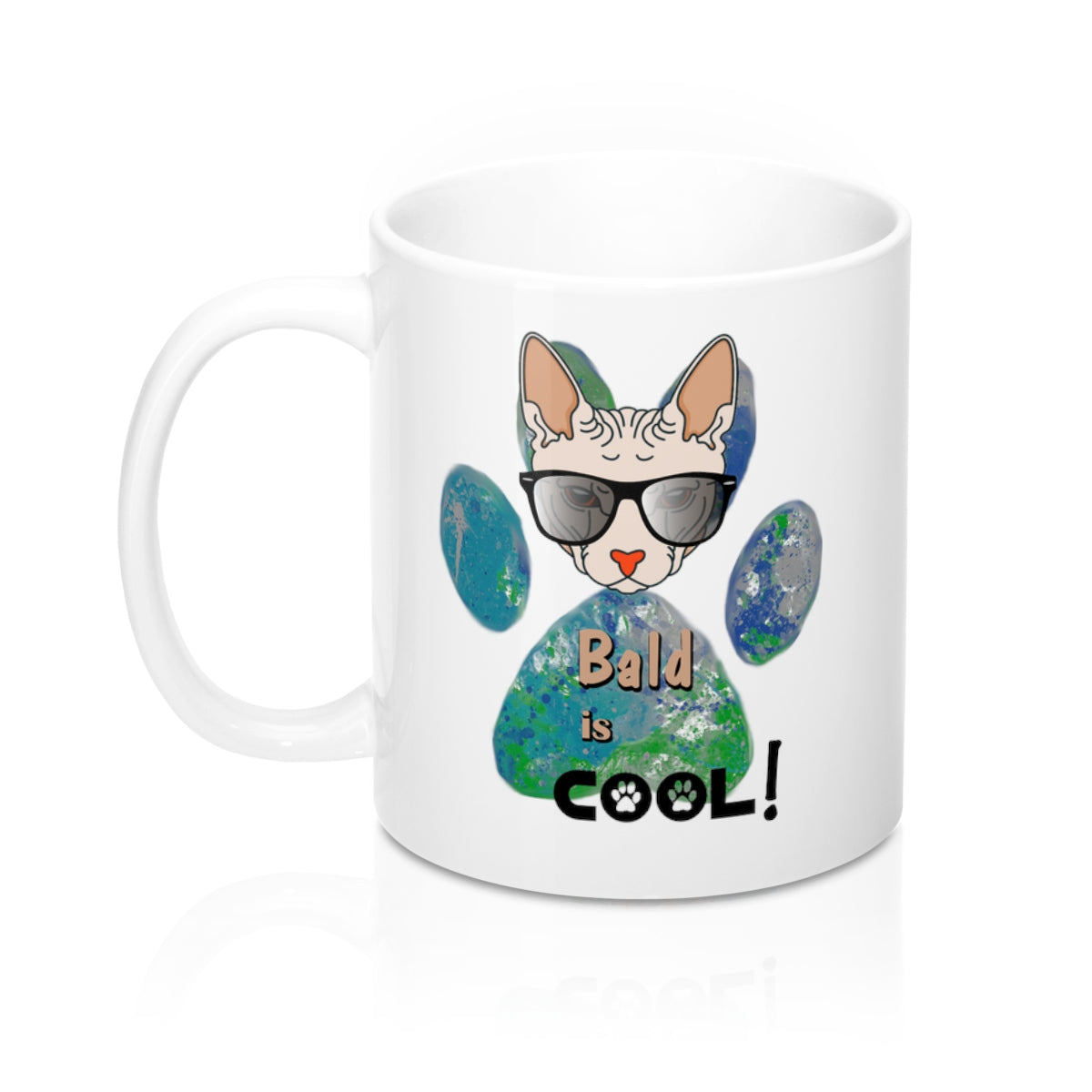 bald is cool sphynx cat white mug