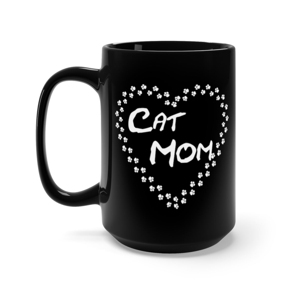 Cat mom paw heart black mug