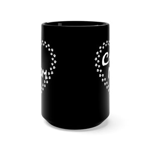 Cat mom paw heart black mug side view