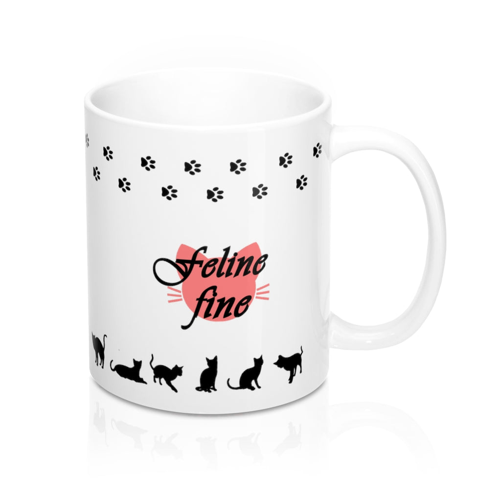 feline fine white mug with cat paw trail and cat shapes