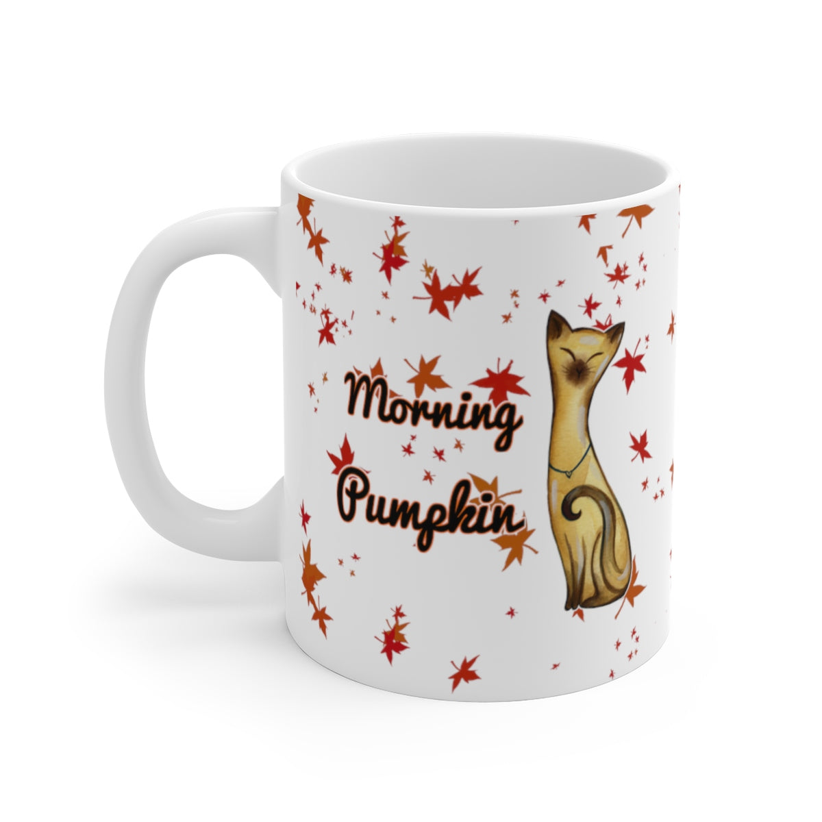 11oz siamese cat fall leaves morning pumpkin white mug