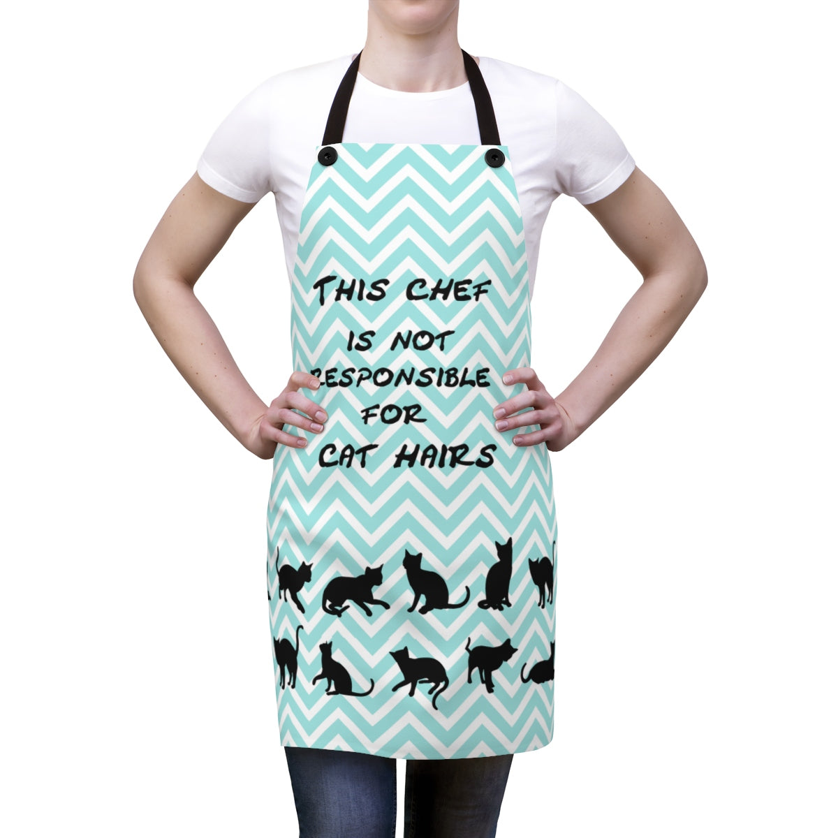 woman wearing a blue green and white striped apron for cat lovers