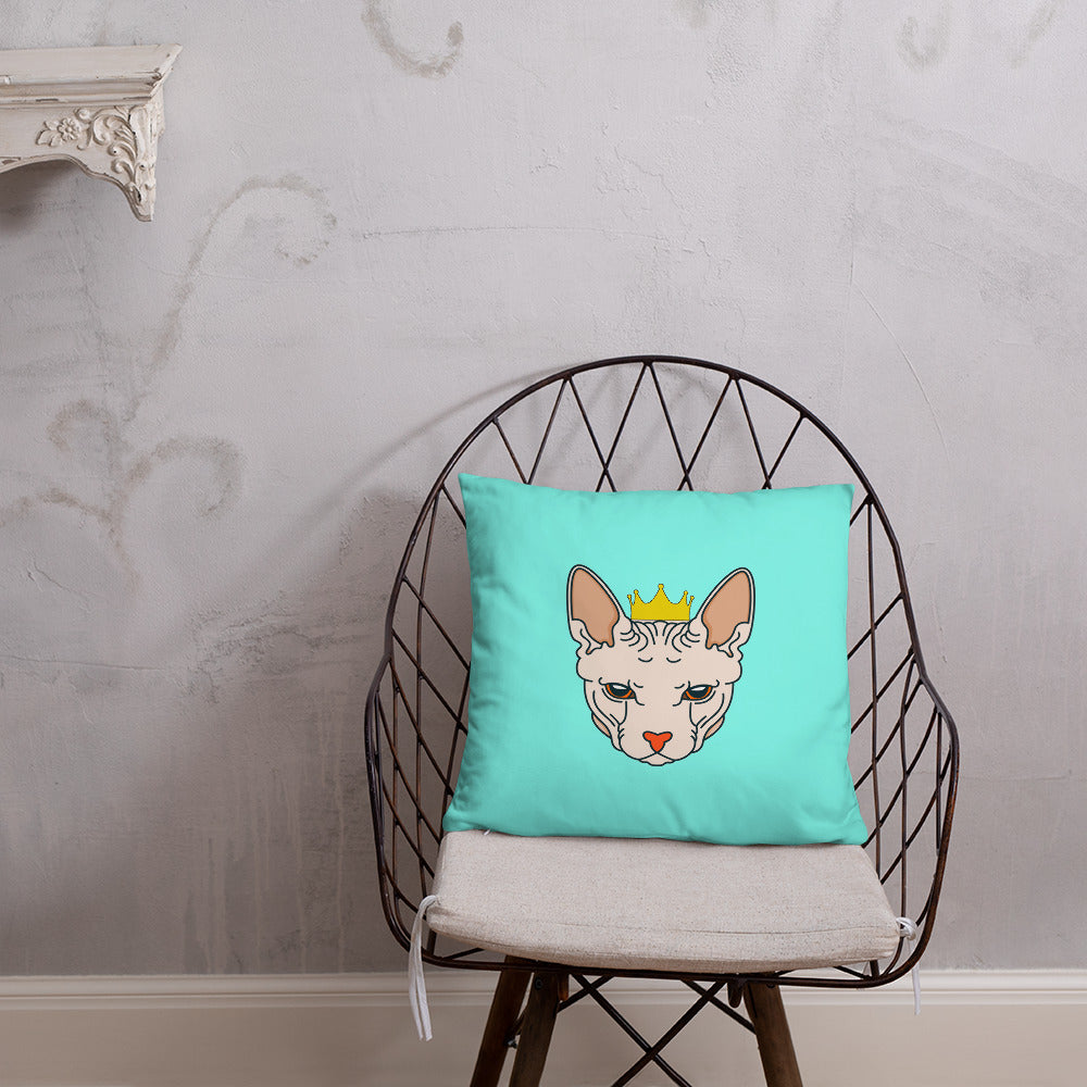 crowned sphynx cat blue green throw pillow as chair decor