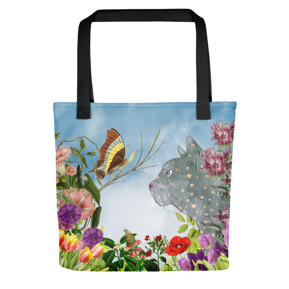 cat and butterfly with flowers tote bag with black straps