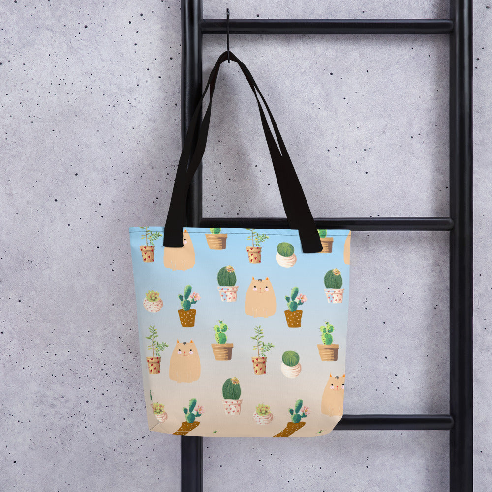 cactus cat pattern tote bag