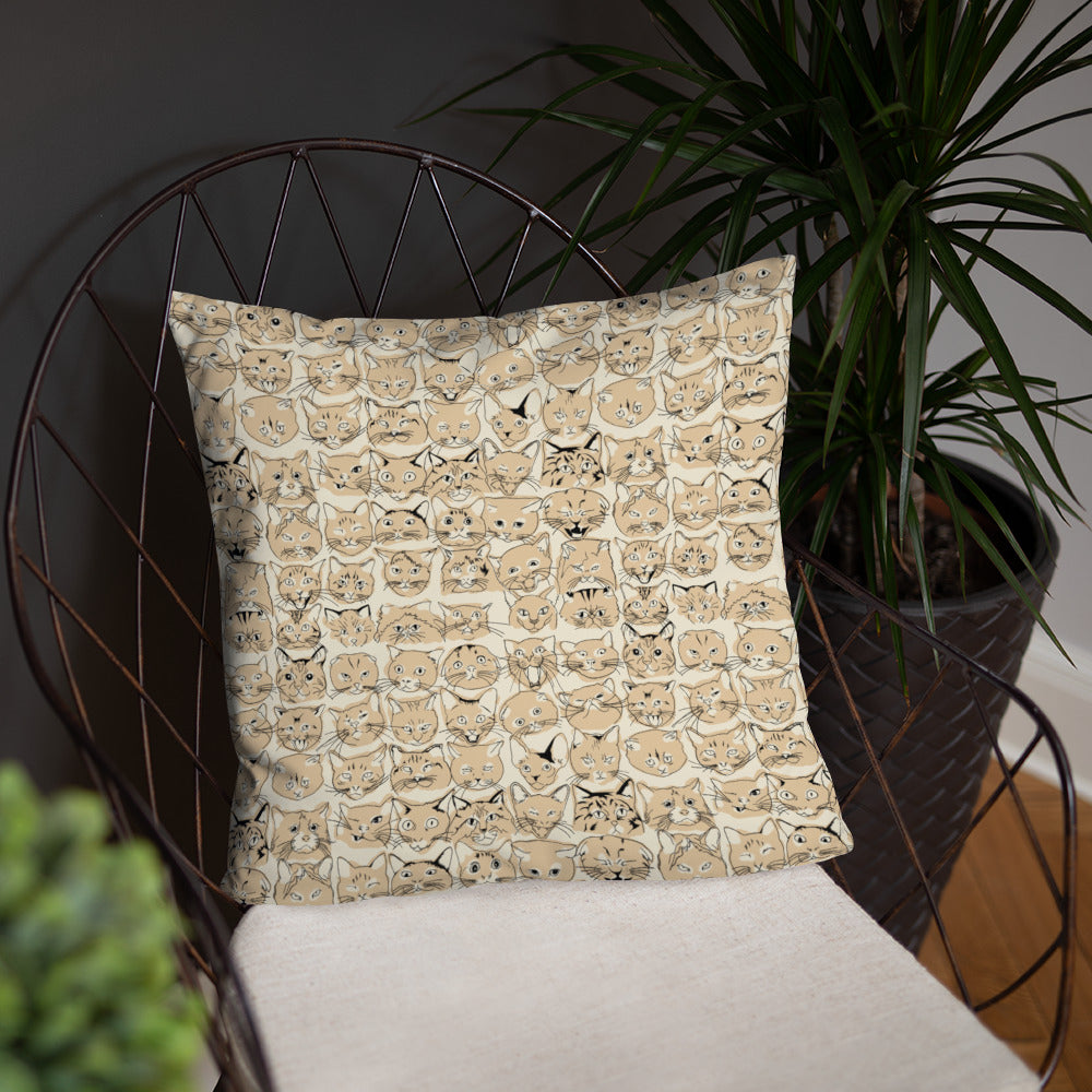 lines cat pattern nude throw pillow on chair