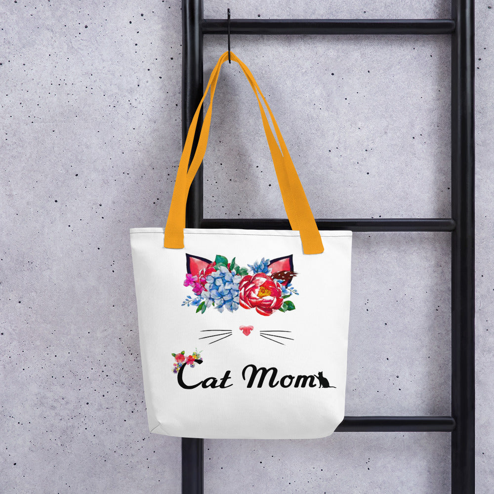 flower wreath cat tote bag for cat mom yellow straps