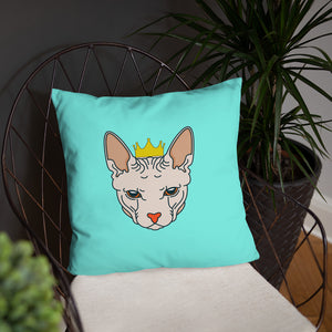 crowned sphynx cat blue green throw pillow on chair