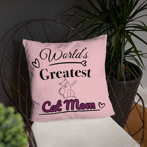 World's Greatest Cat Mom Pillow