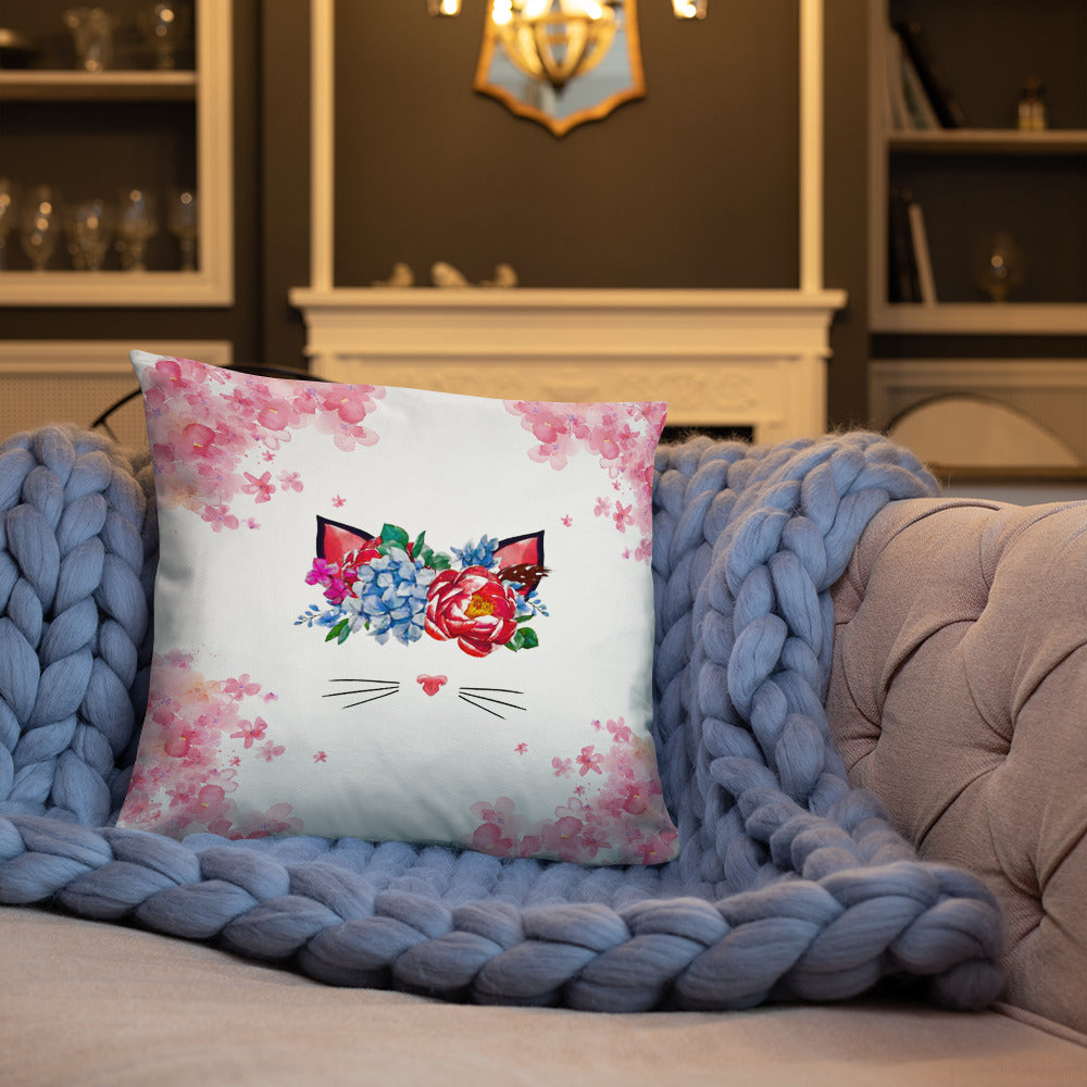 flower crown cat spring throw pillow on blue quilt