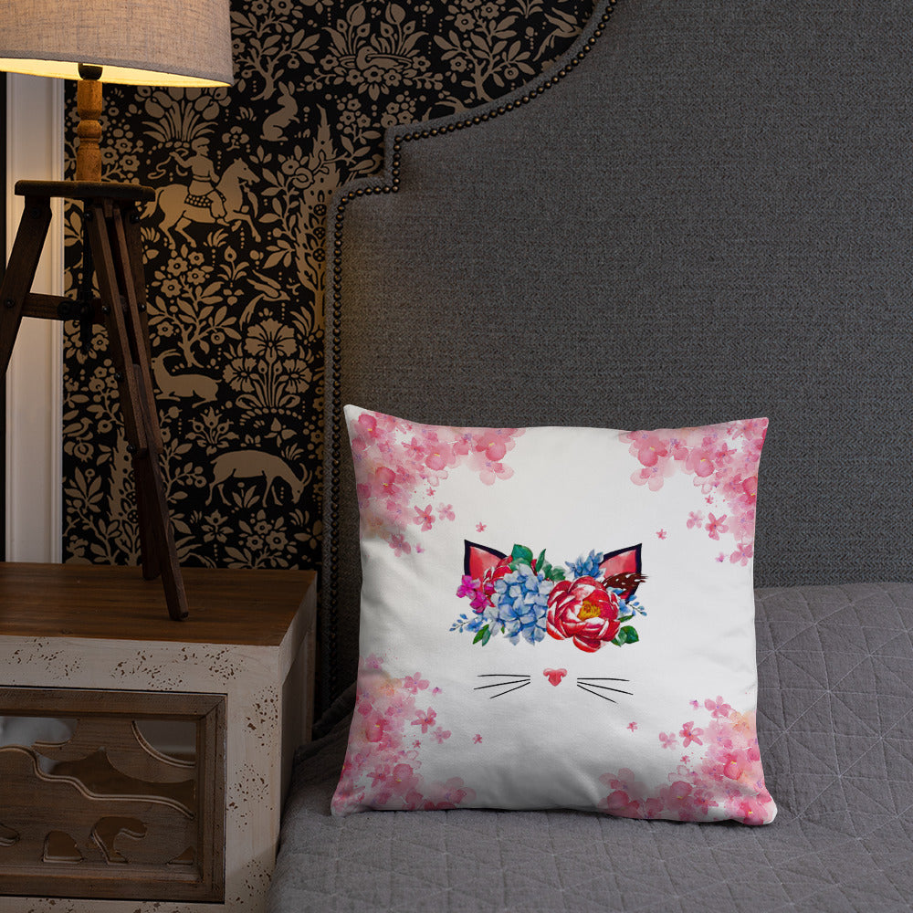 flower crown cat spring throw pillow on bed