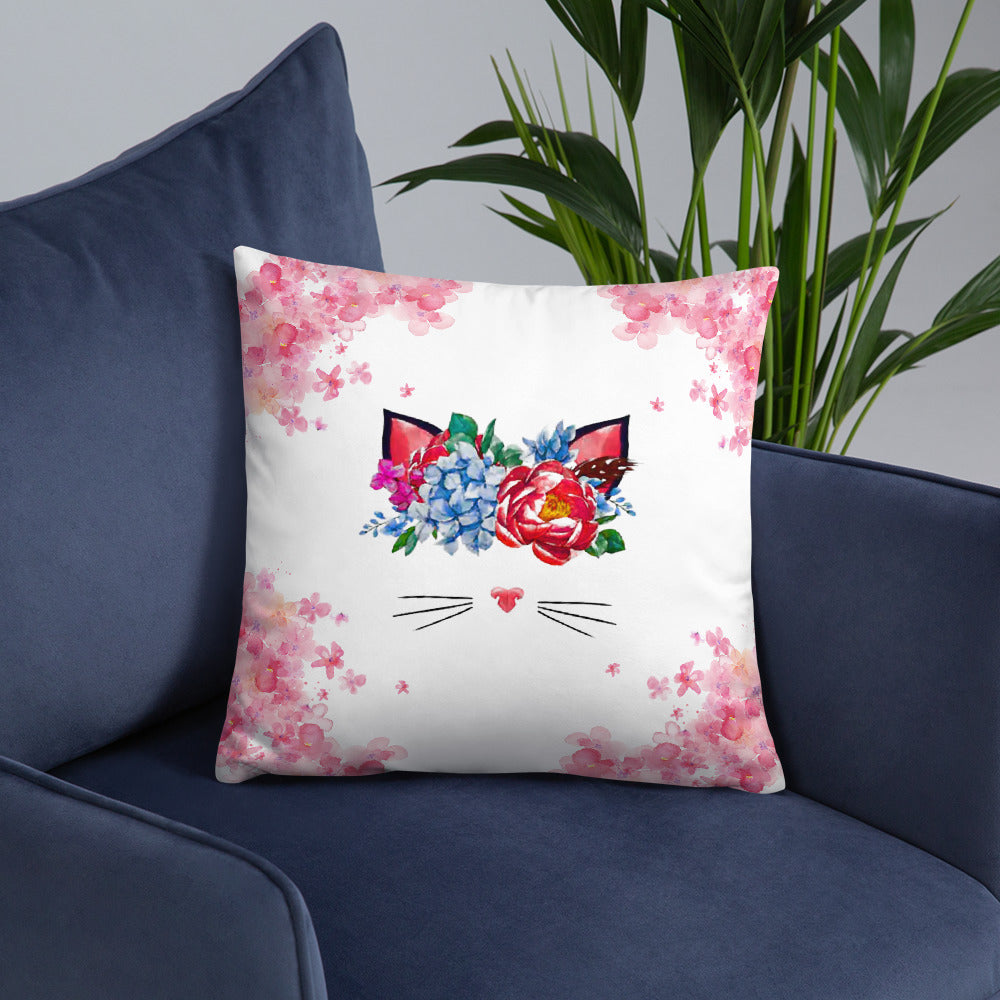 flower crown cat spring throw pillow