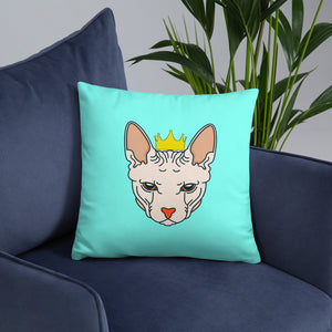 crowned sphynx cat blue green throw pillow on couch