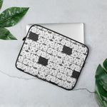 Black and White Cat Pattern Laptop Sleeve