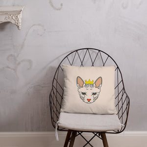 crowned sphynx cat nude throw pillow on chair