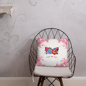 flower crown cat spring throw pillow on chair