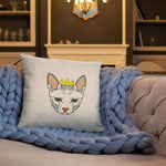 sphynx cat nude throw pillow on blue quilt