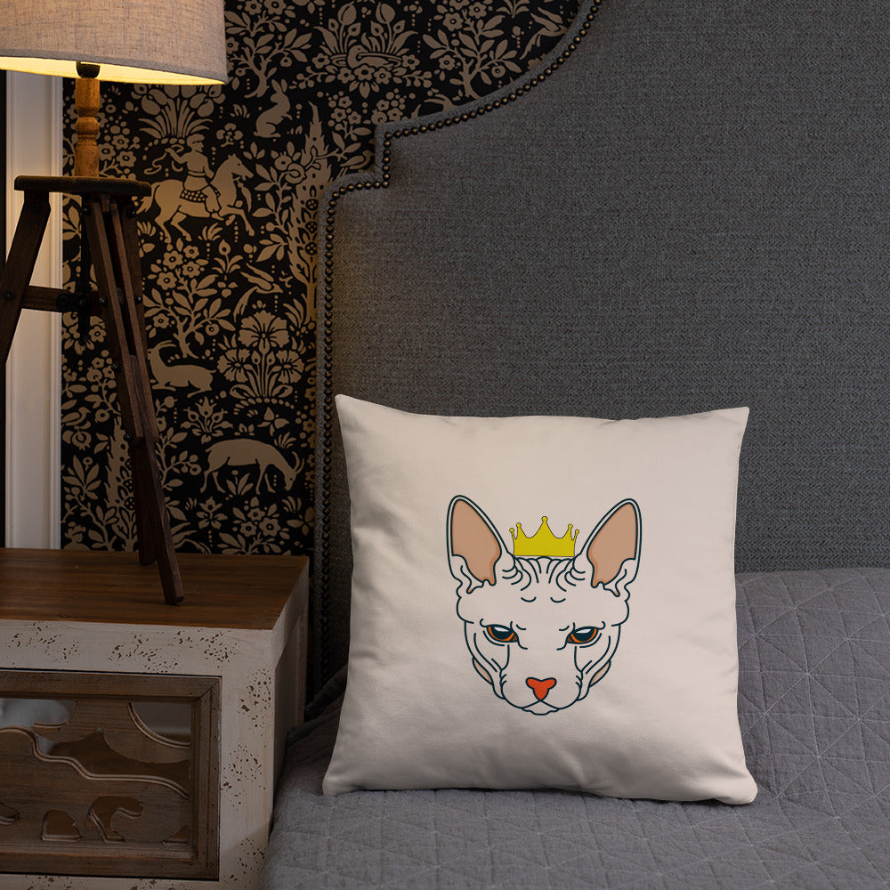 crowned sphynx cat nude throw pillow on bed