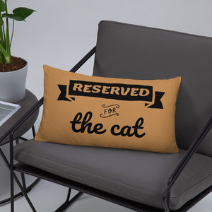 20x12 in nude throw pillow with reserved for the cat text decorating gray chair