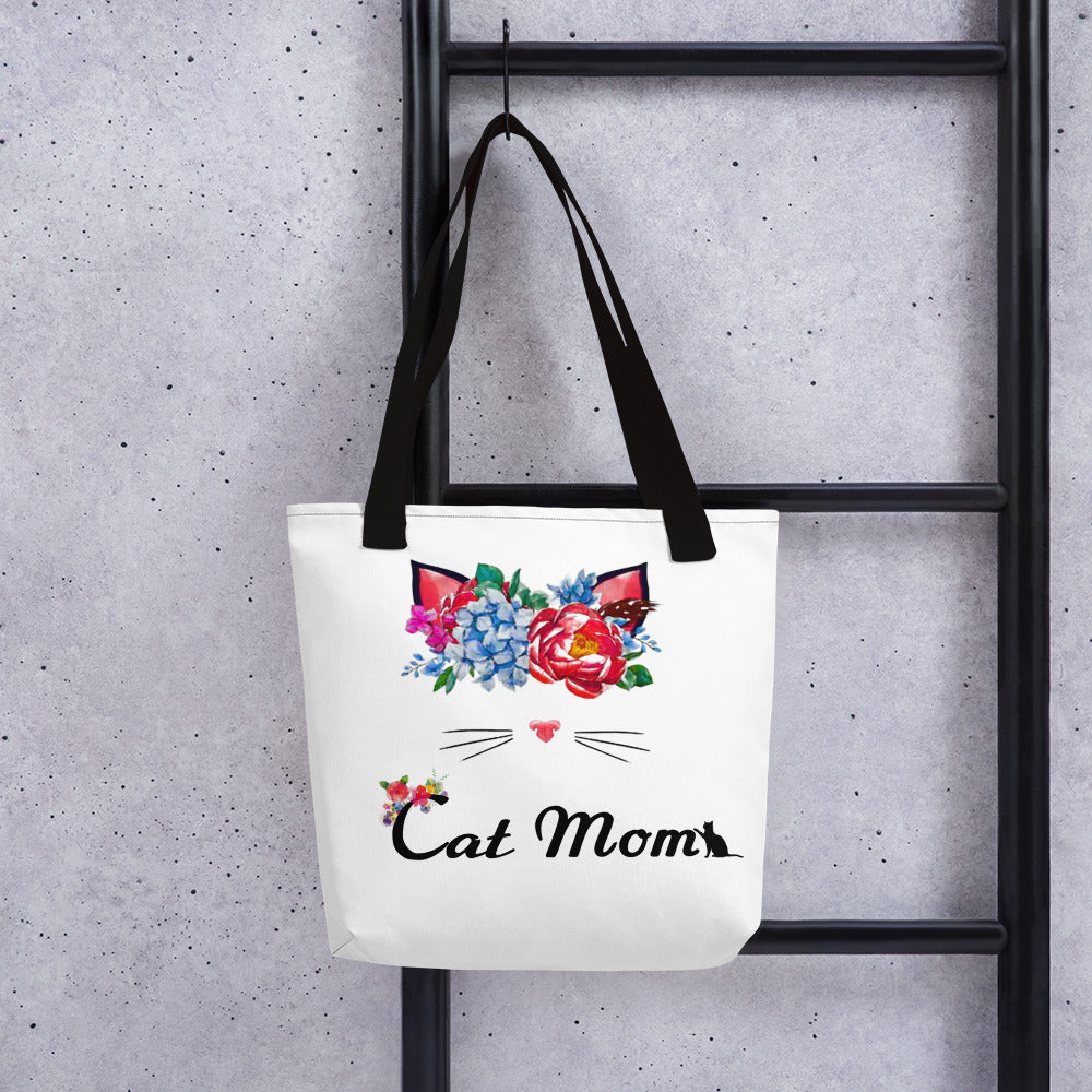 cat wearing flower crown with cat mom text tote bag