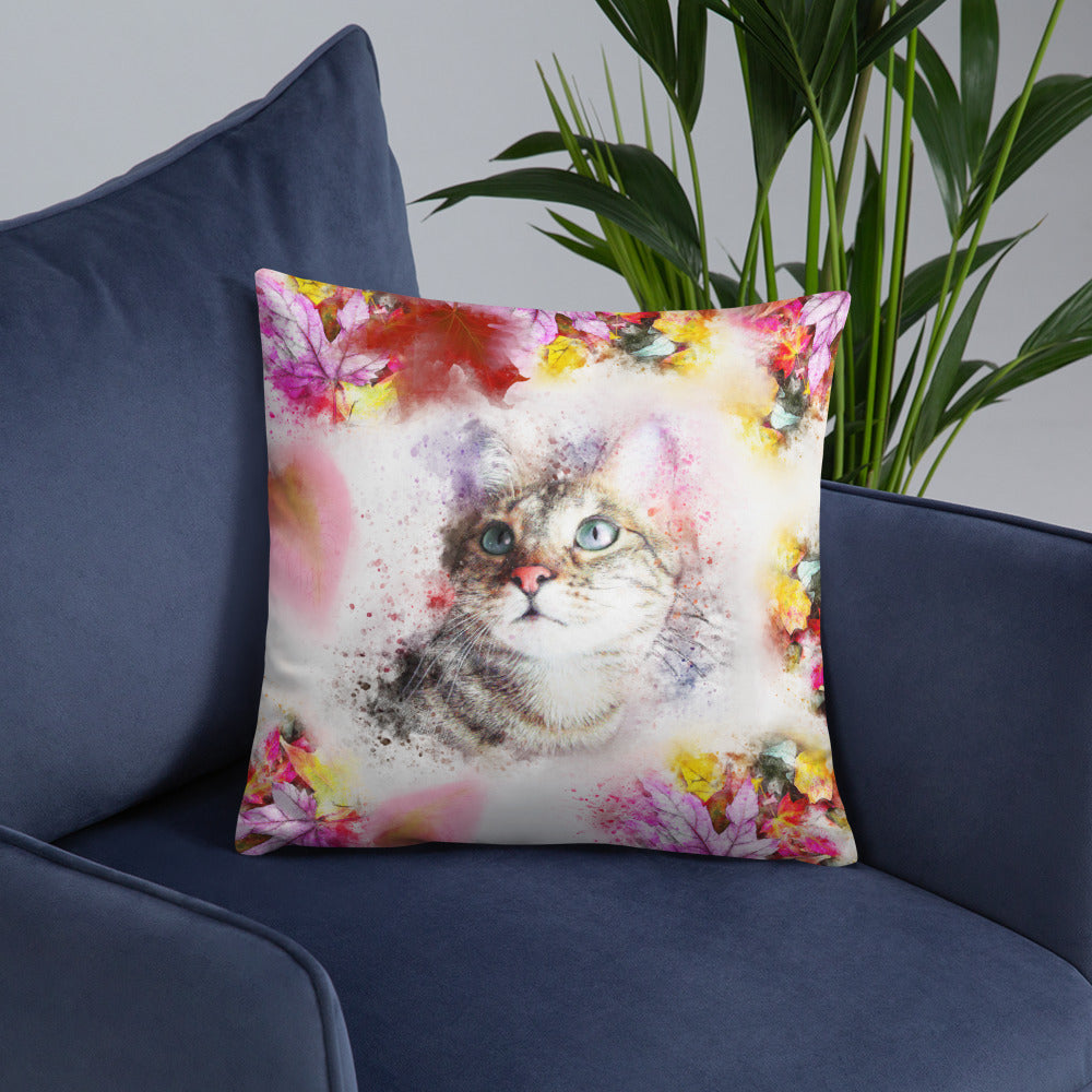 tabby cat throw pillow with fall theme