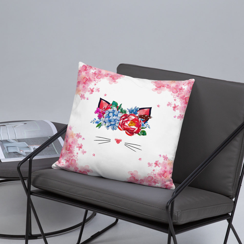 flower crown cat spring throw pillow on gray chair