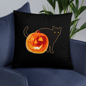 Halloween black cat pillow