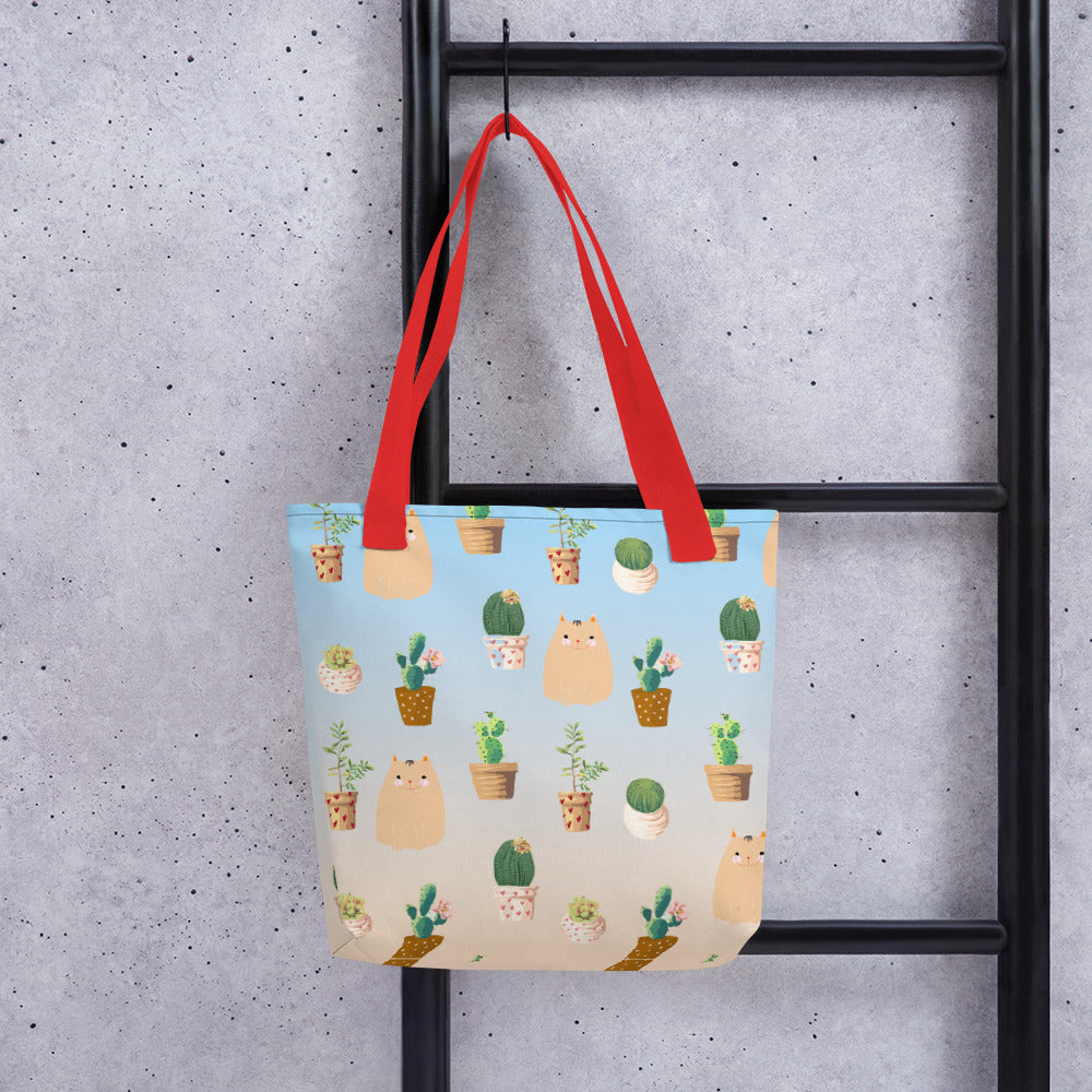Cat & Cactus Pattern Tote Bag