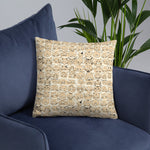 cat pattern nude throw pillow on blue couch