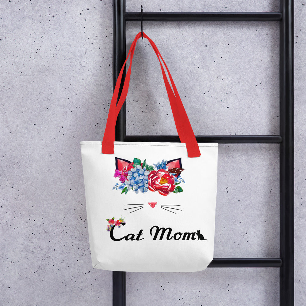 flower wreath cat tote bag for cat mom red straps