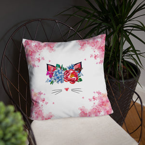 flower crown cat spring throw pillow near plant