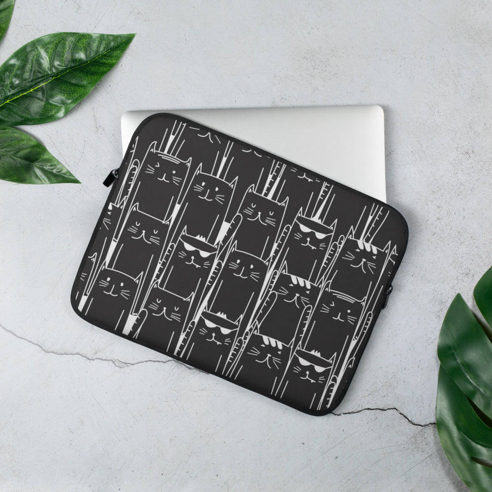 Fun Black Cat Pattern Laptop Sleeve