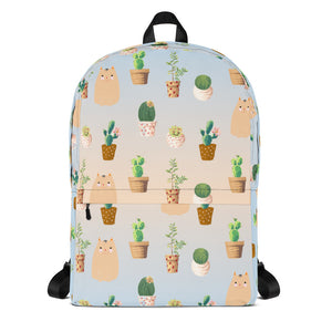 Cactus and cat pattern backpack