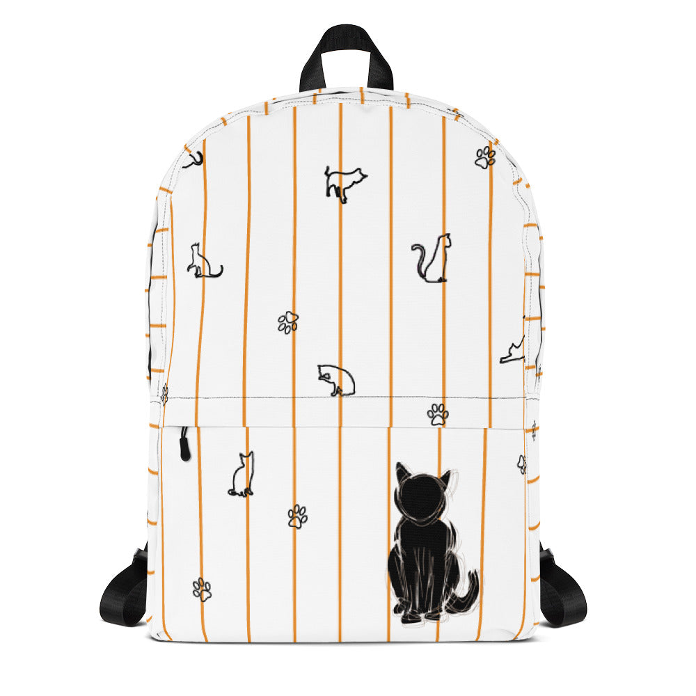 cat lover backpack with nude strips and cat shapes