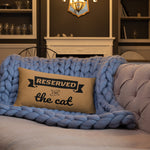 20x12 in nude throw pillow with reserved for the cat text on blue quilt
