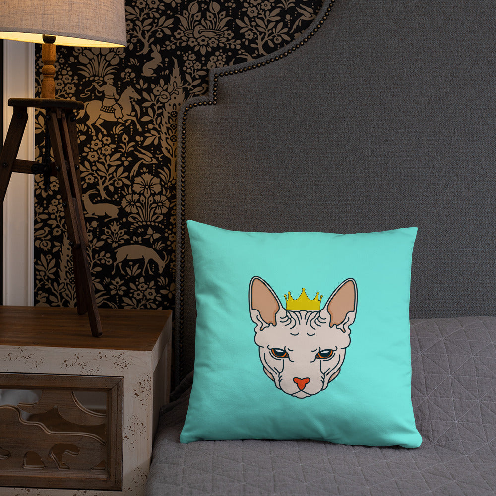 crowned sphynx cat blue green throw pillow on bed