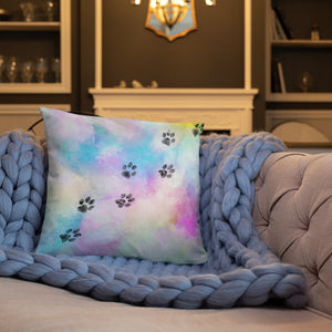 18x18 in cat paw trail on watercolor colorful throw pillow
