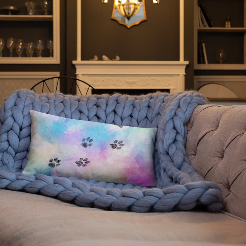 20x12 in cat paw trail on watercolor colorful throw pillow on blue quilt