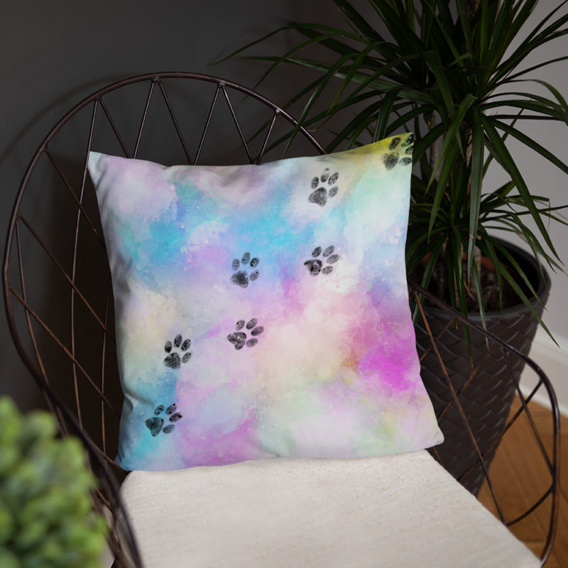 18x18in cat paw trail on watercolor colorful throw pillow decoration