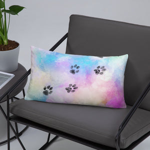 20x12 in cat paw trail on watercolor colorful throw pillow