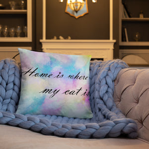 20x12 in home is where my cat is colorful throw pillow on blue quilt